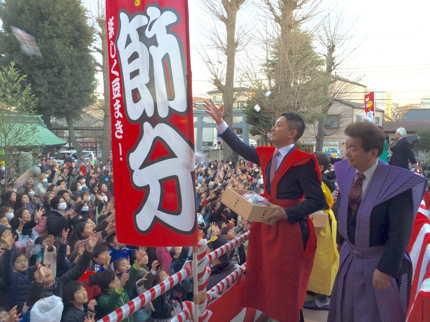 地元神社の節分祭にて。元気いっぱいの子供達がたくさん。 地域に根付いた伝統行事をこれからも継承していきたい。